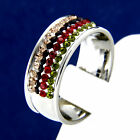 New Stainless Steel Multicolored CZ Engagement Wedding Band Ring