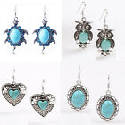 Fashion Jewelry Blue Turquoise Crystal Owl/Heart/Turtle Stud Dangle Earrings New