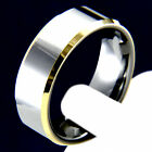 2 Tone Silver Polished Tungsten Carbide Mens Wedding Band Engagement Bridal Ring