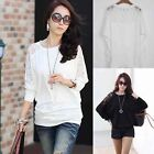 2016 Womens Ladies Long Sleeve Batwing Dolman Lace Loose Blouse Tops Shirt New