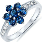 NEW 925 Sterling Silver Plumeria Flower Blue Sapphire CZ Floral Ring Size 3-11