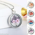 HP New Fashion Silver Plated Diamante Dried Flower Pendant Necklace Women 60cm
