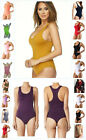 WOMEN SEAMLESS SPANDEX SLEEVELESS THONG BACK RACERBACK BODYSUIT LEOTARD TOP