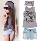3pcs Kids Baby Girls Summer Outfit Headband T-shirt Jeans Pants Clothes Set New
