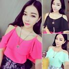 Womens Sexy Off Shoulder Chiffon Short Tee T-shirt Blouse Tops Candy Colors