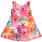 New Cute Kids Girls 3D Cat Dog Animal Print Party Princess Sleeveless Dress 3-9Y