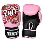 Tuff Muay Thai Boxing Gloves MMA Rose Pink Kick Boxing Leather