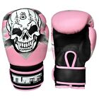 Tuff Muay Thai Boxing Gloves MMA Skull Pink Kick Boxing Leather