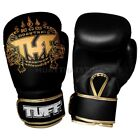 Tuff Muay Thai Boxing Sparring Gloves MMA Black Gold Kick Boxing