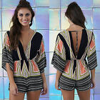 New Summer Women Deep-V Neck Jumpsuit Romper Casual Butterfly Sleeve Short Pants