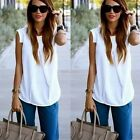 Women Ladies Summer Fashion Sleeveless White Chiffon Blouse Tops T shirt N98B