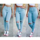 Sexy Women Denim Skinny Pants High Waist Hole Stretch Slim Pencil Jeans N98B