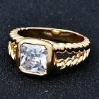 Vintage Yellow Gold Filled Clear Square Crystal Women Eternity Ring Size 5 6 7 8