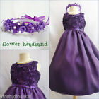 Adorable Purple lapis bridal flower girl party dress FREE HEADPIECE all sizes