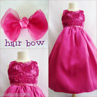Adorable Fuchsia pink bridal flower girl party dress FREE HAIR BOW all sizes