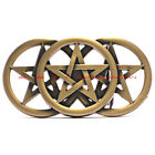 BBU1869 TRIPLE PENTACLE PENTAGRAM INVERTED 5 POINT STAR BRONZE BELT BUCKLE
