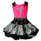 Silver Black Leopard Pettiskirt Rhinestone 1st Birthday Hot Pink Dress Outfit