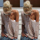 New Womens Off-shoulder Glistening Sequin Top T-Shirt 3/4 Short Sleeve Blouse