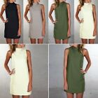 Sexy Ladies Womens Polo Turtle Neck Sleeveless Plain Summer Mini Dress Tops YG