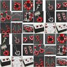 Equilibrium Silver Plated Red Poppy Earrings Necklace Bracelet Brooch Jewellery