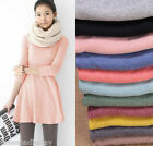 FL Women's Girl Mini Dress Long Sleeve Candy Color One-piece Slim Basic Dresses