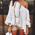 Sexy Women Boho Lace Crochet Off Shoulder Long Sleeve Casual T-shirt Tops Blouse