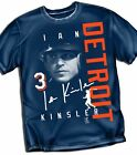 Detroit Tigers Ian Kiinsler Blue Signature Style  T- Shirt  - Adult Sizes  New