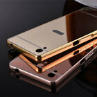 Luxury Mirror Back Cover + Metal Aluminum Frame Case Skin For Sony Xperia Phone