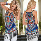 Women Sexy Boho Summer Tassel Floral Evening Party Beach Short Mini Dress Print