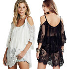 New Sexy Women Bikini Swimwear Cover Up One-piece Sheer Lace Summer Beach Dress