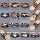 Punk Mens Womens Black Brown Leather Braided Wrap Charm Bracelet Cuff Bangle