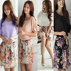 Latest Women Summer Floral Short Sleeves Splice Chiffon Mini Dress With Belt
