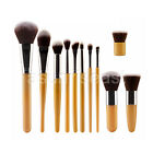 11Pcs Gold Cosmetic Eyeshadow Foundation Blusher Concealer Makeup Brush Set Kit