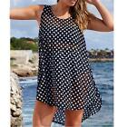 2016 New Women's Sheer Chiffon Sexy Sleeveless Polka Dot Dress Summer Beach TY