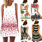 Women Summer Beach Chiffon Sleeveless Floral Pleated Tank Mini Dress Sundress AS