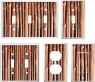 LIGHT SWITCH COVER PLATE  BAMBOO STALKS  BROWN TONES  K1    YOU PICK  SIZE