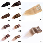 Full Head Clip In Remy Real Human Hair Extensions Straight Any Colors 70g-140g