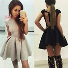 Sexy Women Cap Sleeve Backless Bodycon Cocktail Evening Party Skater Mini Dress
