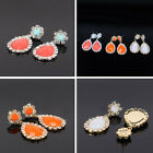 Hot Multicolors Women Teardrop Gem Stone Crystal Rhinestone Dangle Earrings Stud