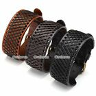 1pc Hemp Braided Leather Belt Wristband Mens Bangle Bracelet Cuff Wrap Gift Punk