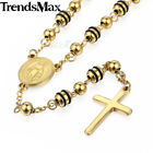 "26"" Stainless Steel Cross Pendant Bead Rosary Jesus Necklace For Women Men Chain"