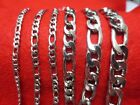 "16""-84"" 3/4/5/7/9/10/12MM MEN/WOMEN SILVER STAINLESS STEEL FIGARO ROPE NECKLACE image"
