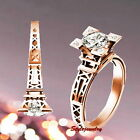 Rose Gold Plated Eiffel Tower Engagement Ring Made With Swarovski Crystal R63