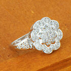 Vintage womens white gold filled clear sunflower crystal love ring size 6 7 8 9