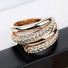 Rose Gold Plate Women Wedding Bridal Crystal Twisted Stackable Two Ring Set R181