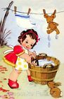 Girl Washes Teddy Bear & Dolly Applique Multi Sizes