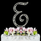 Crystal Vintage Style Monogram Cake Topper Large Silver Cake Letter A-Z Initial
