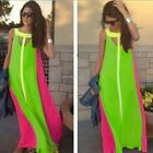 Hot sale O-Neck Summer Chiffon Sleeveless Loose Long Maxi Beach Women Dress B20E