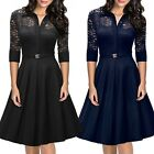 Vintage Womens 50s Pinup 3/4 Sleeve Lace Flare A-line Party Evening Swing Dress