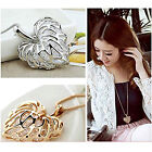 Graceful Hollow-out Love Heart Leaf Pendant Crystal Necklace Sweater Chain